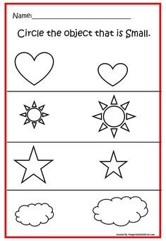Fun FREE printable worksheets for Pre-K. Practice concept Big and Small. Nursery Worksheets, Printable Preschool Worksheets, English Worksheets For Kids, Kindergarten Math Worksheets, Preschool Learning Activities, Free Preschool, Worksheets For Preschoolers, Free Printables, Homeschool Worksheets