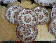 """Ridgway """"Woodland"""" Set of 4 Saucers in Multi-Brown Transferware. Made in England…"""