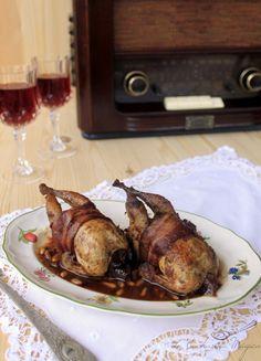 Codornices asadas con salsa de vino