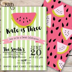 Summer Birthday Watermelon Invitation by BradfordRoadDesigns