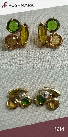 SALE Kate Spade Green & Yellow Earrings These earrings are new without tags and have never been worn. Features 12k gold plated hardware with green and yellow Stones. Bundle and Save! kate spade Jewelry Earrings