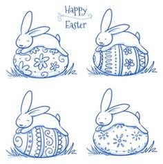 Cute Easter Bunny sleeping on easter egg, 4 versions of egg decoration, pattern. Hand drawn vector illustration.