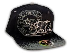 This is a High Quality California Republic Bear Black-Gray Flat Bill Snapback Hat from Top Level. It has Embroidered Cali Bear in on the Front! With California Republic in Print! Embroidered California State on the Side! And Cali Embroidered on Back! Flat Bill Hats, Hip Hop Hat, California Republic, Snapback Cap, Black And Grey, Baseball Hats, Bear, Flats, 3d