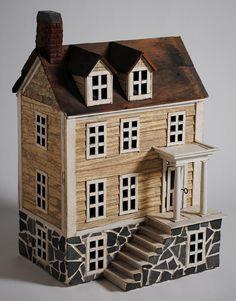 Alexandria Townehouse - Miniature Architectural Wood Folk Art House