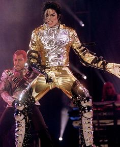 Thriller Michael Jackson History Tour   Michael Jackson performs his trademark crotch grab move