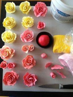 Rosas con fondant