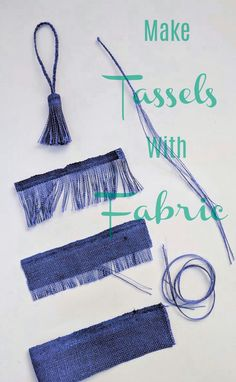 Make tassels with fabric that's a perfect match -or not. Get the matching or con… Make tassels with fabric that's a perfect match -or not. Get the matching or contrasting color tassels for your sewing projects by pulling some threads. Sewing Hacks, Sewing Crafts, Sewing Projects, Diy Projects, How To Make Tassels, Denim Crafts, Diy Tassel, Fabric Jewelry, Diy Earrings With Fabric