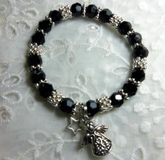 Hope Angel Bracelets- Black, round Swarovski crystal beads with angel and small star charm.