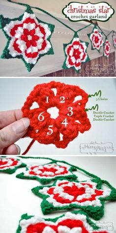 Crochet Christmas Star Granny Garland With Free Pattern.