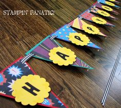 Superhero Collection: Large Happy Birthday Pennant Banner. Hand stamped. Comic Font. Custom, Personalized w/age and name. Avengers Birthday. via Etsy