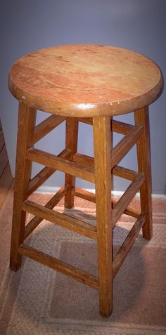 48hr Flash! Vintage Wooden Industrial Shabby Chic Stool - Gorgeous Patina…