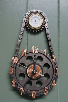 "Clocks made from ""repurposed materials"" by KysarCreations on Etsy, $50.00 pretty cool to see car parts put to creative use!"