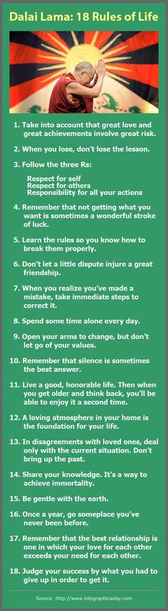 Dalai Lama: 18 Rules of Life - 1. Take into account that great love and great achievements involve great risk. 2. When you lose, don't lose the lesson. 3. Remember that not getting what you want is sometimes a wonderful stroke of luck. more . . .http://www.hangoutwithalonzo.com