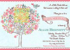 Árbol aves bebé ducha invitación aves y por artisacreations