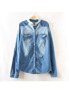 blue stand-up neck long sleeve jeanet blouse