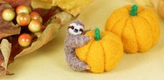Sloth with pumpkin - Halloween - Handmade needle felted decor by LilenokArt