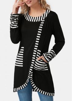 Long Sleeve Asymmetric Hem Pocket Striped Top | Rosewe.com - USD $30.95