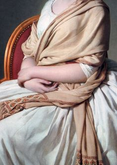 Jacques-Louis David: Detail of a portrait of Anne-Marie-Louise Thélusson, Comtesse de Sorcy, 1790.