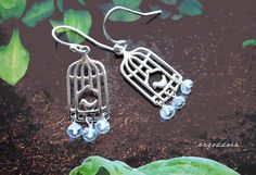 SPRING BIRDS All sterling silver and faceted Aquamarine drops earrings by srgoddess by srgoddess on Etsy