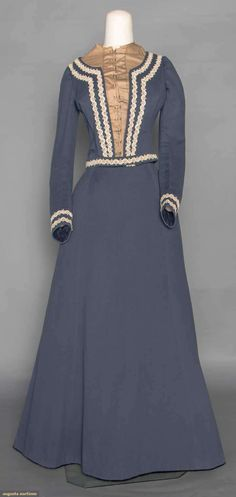 Wool Promenade Ensemble, 3-piece, cadet blue wool, c/o 1 long A line skirt, 1 fitted long sleeve bodice w/ white braid trim & 1 fitted double breasted jacket, c 1900