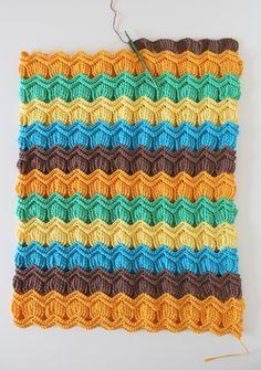 crochet vintage fan ripple blanket