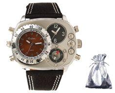 Amazon.co.jp: 【 オウルム 】 Oulm ミッドセンチュリー トリプル アナログ フェイス コンパス メンズ ミリタリー 腕時計 プレゼント用COSMIC TREEオリジナル巾着袋セット cos time-33 (ブラウン): 腕時計通販
