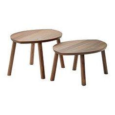 IKEA - STOCKHOLM, Sarjapöytä, 2 osaa, , Pähkinäpuuviiluinen kansi ja massiivipähkinäpuujalat tuovat sisustukseen luonnollista lämpöä.Pähkinäpuuviilun voimakas kuvio tekee kalusteista yksilöllisiä.Pähkinäpuu on luonnostaan kestävää. Pöydän kansi on käsitelty lakalla, joka tekee siitä entistä kestävämmän.Kauniit lehden muotoiset pöydät toimivat sekä yksin että yhdessä.