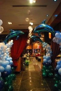 under the sea Theme for a Quinceanera Dance Themes, Prom Themes, Quinceanera Themes, Under The Sea Decorations, Balloon Decorations, Under The Sea Theme, Under The Sea Party, Dolphin Party, Underwater Theme