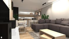 Salon styl Nowoczesny - zdjęcie od KRET'''KA PRACOWNIA PROJEKTOWA - Salon - Styl Nowoczesny - KRET'''KA PRACOWNIA PROJEKTOWA Interior Cladding, Living Room Kitchen, Couch, Decorations, Furniture, Home Decor, Living Room, Settee, Decoration Home