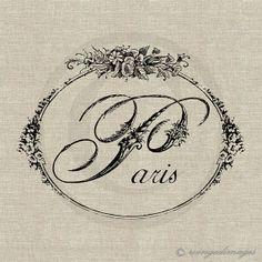 INSTANT DOWNLOAD Paris Word Floral Script Digital Image No.160 Iron-On Transfer to Fabric (burlap, linen) Paper Prints (cards, tags) via Etsy