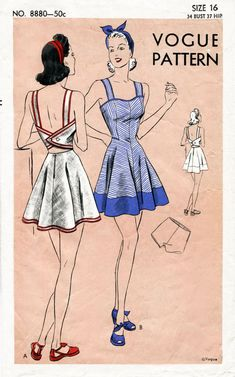 4e6b9b48470 Lovely vintage beach playsuit pattern with bare back mid-riff section. Bias  center front bodice sections are in one with skirt.