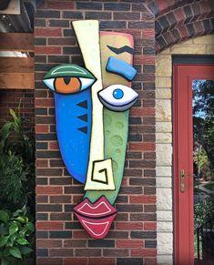 Carved Wood Wall Art, Metal Wall Art, Wood Art, Abstract Face Art, Abstract Canvas Art, Styrofoam Art, Mannequin Art, Cardboard Art, Masks Art
