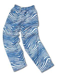 Detroit Lions ZUBAZ Blue White Vintage Zebra Embroidered Logo Pants