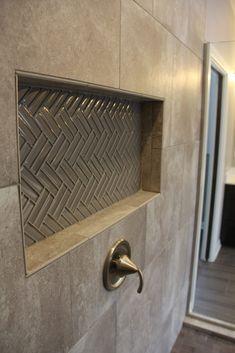 Shower tile: Via Piave Luna Gray, Angora Amela Mosaics Carbon, Dimensions Linen Chevron Glass Tile Mosaics Smoke
