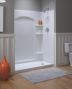 Fiberglass Shower Enclosure Kits - for if we end up in a pickle and tile just really ain't feasible Fiberglass Shower Enclosures, Shower Enclosure Kit, Shower Stall Kits, Walk In Shower Kits, Shower Remodel, Bath Remodel, Shower Inserts, Upstairs Bathrooms, Small Bathrooms
