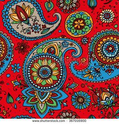 Seamless pattern based on traditional Asian elements Paisley. Bright multi-colored pattern on a red background. Red Background, Mosaics, Paisley, Royalty Free Stock Photos, Bright, Asian, Traditional, Illustration, Pattern