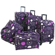 The Set of Classic Purple American Flyer Fireworks 5 Piece Spinner Luggage Set >>> Read more  at the image link.