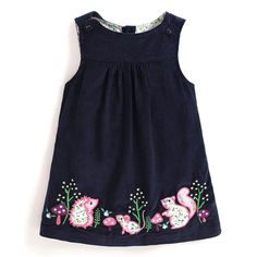 Take a look at this Navy Woodland Creature Shift Dress - Infant, Toddler & Girls today! Little Girl Fashion, Kids Fashion, Cord Pinafore Dress, Jumper Outfit, Cute Girl Dresses, Traditional Dresses, Cotton Dresses, Baby Dress, New Dress