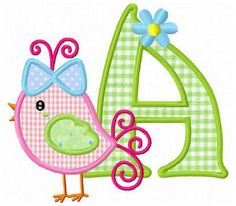 26 bird applique letters machine embroidery design by FunStitch, $15.00