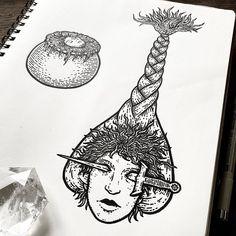 """Poison Apple Printshop on Instagram: """"A seldom seen sketchbook page. 🗡 #poisonappleprintshop #dagger #cauldron #crucible #witchcraft #braid #sketchbook"""" Poison Apples, Sketchbook Pages, Cauldron, Witchcraft, Original Artwork, Braid, Instagram, Witch Craft, Locs"""