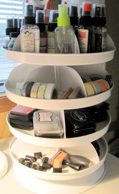 The hardware store can be a great place to find organization tools.  If you've got a corner that needs organizing, this spinning hardware organizer could be just what you need.