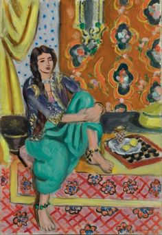 "Henri Matisse ""Seated Odalisque, Left Knee Bent, Ornamental Background and Checkerboard"", 1928, Baltimore Museum of Art"