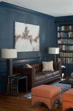 Blue panelled walls and bookcases again