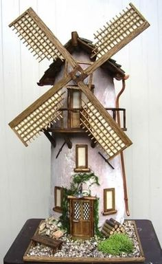 Mulino a vento 2 Clay Tiles Gnome House Clay Design Clay Pots Fairy Houses Clay Fairy House, Gnome House, Fairy Garden Houses, Clay Houses, Ceramic Houses, Miniature Houses, Doll House Crafts, Tile Crafts, Clay Fairies