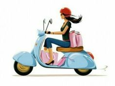 by Gary Newman Vespa Girl, Scooter Girl, Stickers Moto, Vespa Illustration, Logo Online Shop, Vespa Ape, Vespa Scooters, Lambretta, My Little Paris