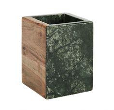 Mramorový kalíšek na kartáčky Green/wood   Nordic Day