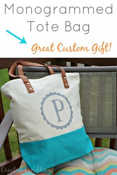 monogrammed tote bag gift idea | a DIY Silhouette Project from Creative Ramblings