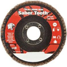 "Weiler Saber Tooth Abrasive Flap Disc, Type 29, Round Hole, Phenolic Backing, Ceramic Aluminum Oxide, 4-1/2"" Dia., 36 Grit (Pack of 1)"