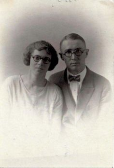 Optometrist's Dream Couple in Matching Round Glasses 1924 Vintage Proof Photo | eBay