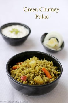 Green Chutney Pulao Recipe - Quick pulao with mint and coriander chutney - #Indianfood #cooking #recipes - blendwithspices.com